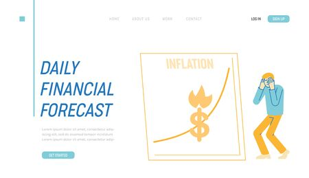 Inflation, Financial Crisis, Investor Lose Money on Stock Landing Page Template.Market Fall and Depreciation. Depressed Business Man Character Looking at Grow Chart. Linear Vector Illustration Ilustração