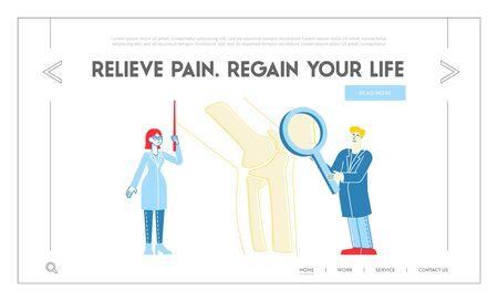 Orthopedics Healthcare Landing Page Template. Doctor Orthopedist Character Pointing on Huge Leg Bone, Nurse with Magnifying Glass. Medical Hospital Concilium. Linear People Vector Illustration Ilustracja