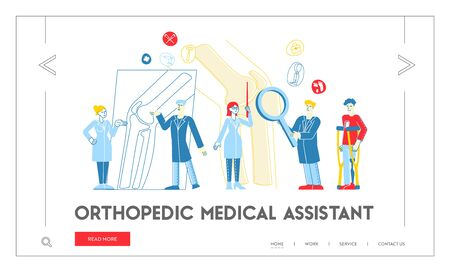 Orthopedics Concilium, Healthcare Landing Page Template. Doctor Traumatologist Character Look at X-ray with Joint Disease Discuss Patient Treatment with Colleague. Linear People Vector Illustration Zdjęcie Seryjne - 148093247