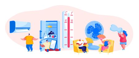Characters in Summer Time Hot Period Concept. Sweltering in Heat Young and Aged People Sitting on Sofa Use Fans, Conditioner, Pouring Water to Get a Little Bit Cool. Cartoon People Vector Illustration
