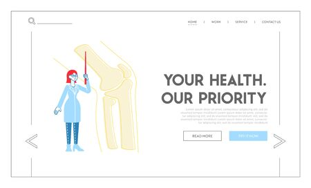 Medical Healthcare Landing Page Template. Doctor Orthopedist Character with Pointer Look at Huge Picture of Leg Skeleton Bones. Patient Treatment in Orthopedics Hospital. Linear Vector Illustration