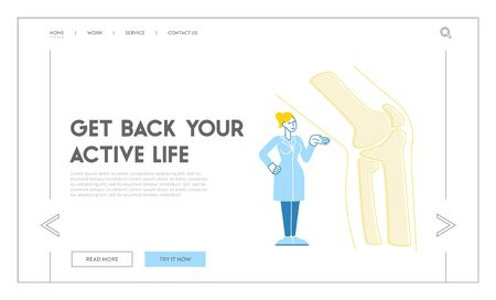Orthopedics and Podiatry Medical Healthcare Landing Page Template. Doctor Orthopedist Character Stand at Huge Foot with Knee Joint X-ray. Patient Treatment in Hospital. Linear Vector Illustration