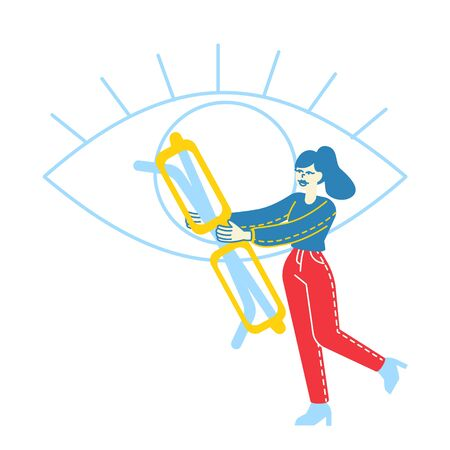 Tiny Female Character Carry Huge Eyeglasses front of Human Eye. Vision Diseases Treatment and Diagnostics Concept