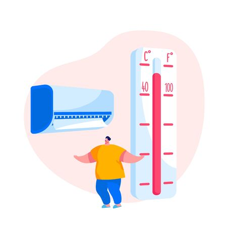 Young Man Suffering of Seasonal Heat Use Conditioner at Home. Male Character with Smiling Face Feeling Good in Warm Summer Extreme Hot Weather, Summertime Season Heating. Cartoon Vector Illustration