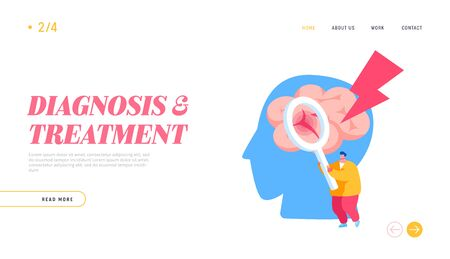 Insult Disease Symptoms, Neuroscience Landing Page Template. Tiny Male Character Holding Magnifying Glass