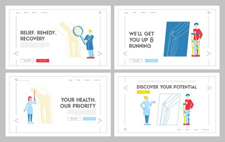 Orthopedics Concilium, Healthcare Landing Page Template Set. Doctor Traumatologist Characters Analyse Knee Joint Disease Discuss Patient Treatment with Colleagues. Linear People Vector Illustration