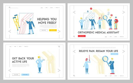 Orthopedics Healthcare Appointment Landing Page Template Set. Doctor Orthopedist Characters at Huge Leg Bone, Nurse with Magnifying Glass. Medical Hospital Concilium. Linear People Vector Illustration Ilustracja