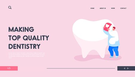 Stomatologist Work Landing Page Template. Tiny Dentist Doctor Character Care of Huge Tooth Examine Xray Image. Stomatology Service, Dentistry, Caries Prevention, Treatment. Cartoon Vector Illustration Illustration