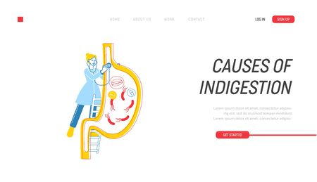 Gastroenterology Landing Page Template. Female Doctor Character Stand on Ladder with Stethoscope