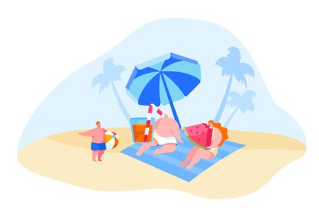 Happy Young Family Characters Relaxing on Beach. Mother Eating Watermelon, Father Drinking Juice, Little Boy Holding Ball. People Spend Summer Vacation on Tropical Resort. Cartoon Vector Illustration