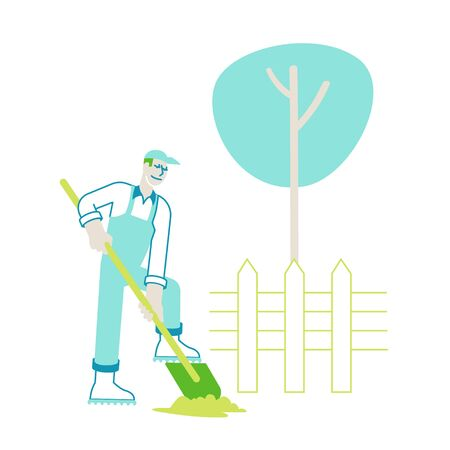 Farmer Character in Overalls Working in Garden Digging Soil and Care of Plants in Village or Countryside
