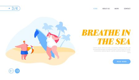 Characters Holidays Recreation Landing Page Template. Mother with Surf Board and Boy with Ball Stand on Sandy Beach at Exotic Tropical Resort during Summer Vacation. Cartoon People Vector Illustration