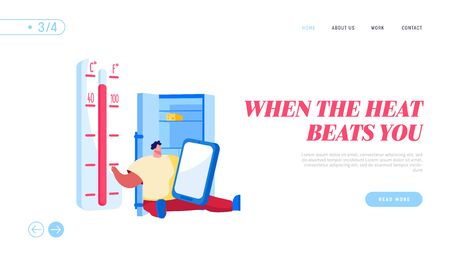 Heat Stroke, Extremal Heating Conditions Landing Page Template. Unhappy Male Character Sit at Home with Open Refrigerator Suffer of High Temperature at Summer Hot Period. Cartoon Vector Illustration