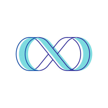 Infinity Symbol Isolated on White Background. Blue Contoured Thickness Style Symbol of Repetition and Unlimited Cyclicity. Design Element for Company Branding. Linear Vector Illustration, Icon, Sign