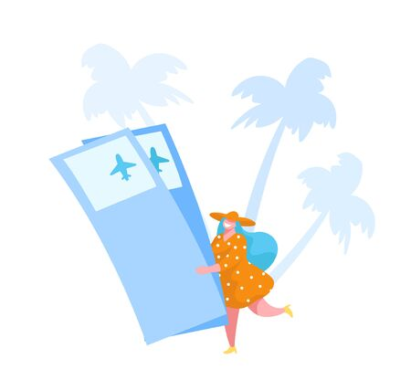 Tiny Female Character in Summer Dress and Hat Carry Huge Airplane Tickets on White Background with Palm Trees. Tourist Travel on Tropical Resort at Summertime Vacation. Cartoon Vector Illustration