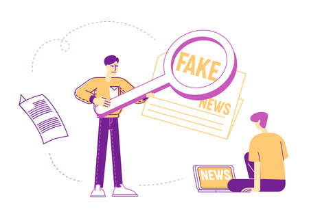 Young Man Reading News on Laptop. Male Character Using Magnifier for Browsing Information in Internet, Online Surfing and Info Research. People Read Fake News Concept. Linear Vector Illustration