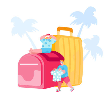 Tiny Male Characters Prepare for Travel on Tropical Country Resort. Men Tanning at Huge Luggage with Palm Trees and Pack Clothes to Suitcase. Summer Time Vacation Trip. Cartoon Vector Illustration