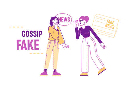 Fake News Concept. Women Characters Telling Gossips and Scandal Tales to Each Other on Street. People Spreading Wrong Scandalize Information, Mass Media False Info. Linear People Vector Illustration