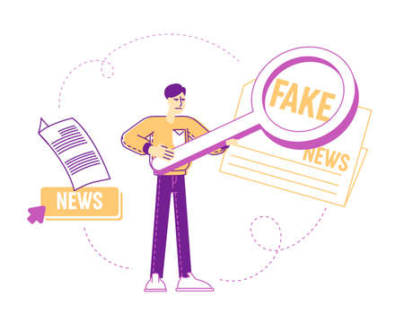 Social Media Forgery Information Concept. Male Character with Huge Magnifying Glass Looking on Fake News Headline in Newspaper. Character Read False Info, Spread Scandals. Linear Vector Illustration
