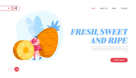 Tropical Fruits Diet Landing Page Template. Woman Rolling Huge Pineapple Slice, Tiny Female Character Choosing Vegetarian and Healthy Food, Fortified Nutrition, Vitamin. Cartoon Vector Illustration Illustration