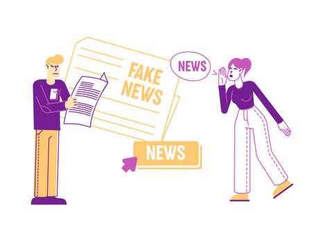 Fake News Information and Disinformation. Male Character Reading Newspaper, Woman Telling Gossips. Mass Media Worldwide Human Consciousness Manipulation, False Info. Linear People Vector Illustration  イラスト・ベクター素材