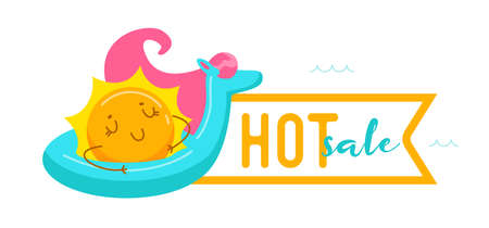 Hot Sale Banner with Kawaii Sun Character Floating on Inflatable Unicorn Mattress. Cute Cartoon Personage Summer Relax, Summertime Sale or Discount Offer, Activity and Spare Time. Vector Illustration