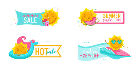 Set of Hot Summer Sale Banners with Cute Cartoon Sun Surfing on Sea Wave, Drink Cocktail, Eat Watermelon, Float Mattress. Kawaii Personage Summertime Activity, Shop Discount Offer. Vector Illustration