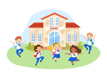 Happy Kids in School Uniform with Backpacks Jumping in School Yard. Schoolboys and Schoolgirls Characters Laughing, Waving Hands Greeting New Educational Year. Cartoon People Vector Illustration