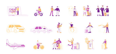 Set of Male and Female Characters Travel. People Booking Tickets for Cheap Flight Online, Hiking with Backpack and Gps Navigator, Tourists Flying on Airplane, Riding Bike. Linear Vector Illustration