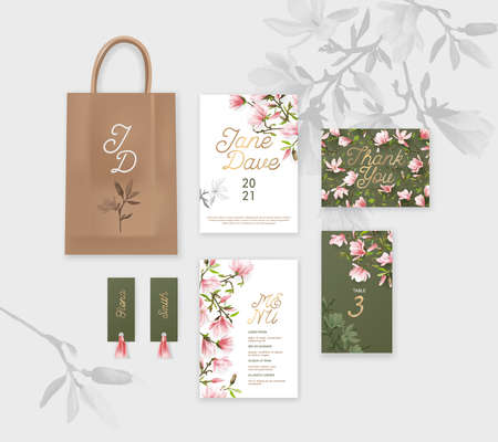 Corporate Identity, Branding Templates with Floral Ornament. Paper Bag, Menu, Invitation, Thank You and Table Card for Guests, Wedding Stationary Cherry Flowers Design. Isolated Vector Mock Up Set