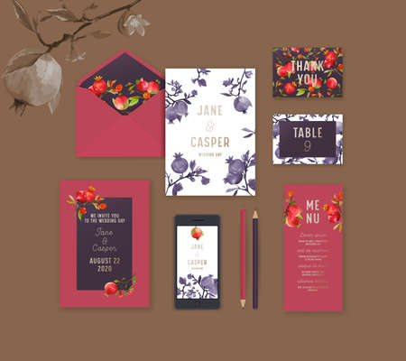 Wedding Stationary with Pomegranate Design, Identity, Branding Templates. Paper Envelope, Menu, Invitation, Thank You and Table Card for Guests, Mobile Phone and Pencils. Isolated Vector Mock Up Set