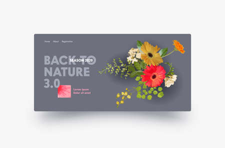 Landing Page Design with Autumn Gerbera Flowers, Website Template for Florist Shop, Wedding Decoration