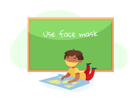 Kid Character in Face Mask Lying on Floor with World Map Studying Geography. Back to School during Covid19 Pandemic