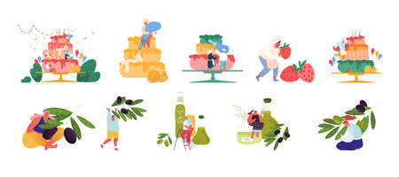 Set of Tiny Confectioner Characters Cooking Huge Birthday Cake. People Produce and Using Olive Oil. Bakery, Pastry Food