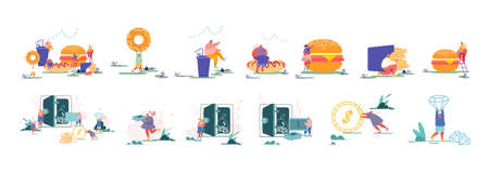 Set of Characters Eating Fast Food Meals. Tiny People with Huge Burgers, Men and women Saving Money and Assets in Safe
