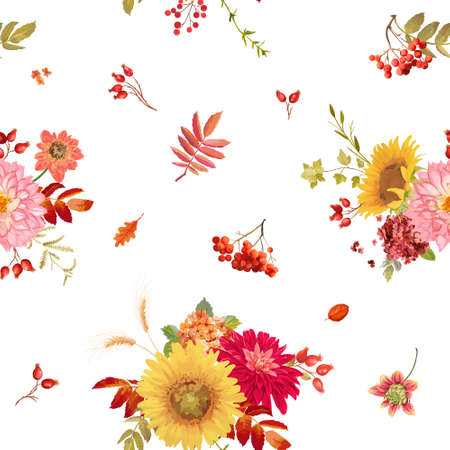 Seamless watercolor vector autumn flowers background, Thanksgiving floral pattern orange hydrangea, fern, dahlia, red rowan berry, sunflower, fall leaves collection for print, wallpaper, fabric