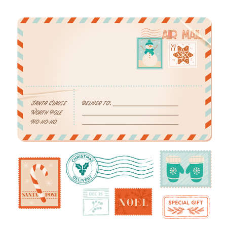 Winter invitation postal card, christmas vintage postcard, xmas party stamps, rubber stamps, holiday greeting