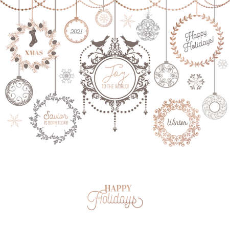 Vintage Christmas Wreath Design, Winter Holiday Calligraphic Card, Vector Page Typography Decoration, Ornate, Swirls