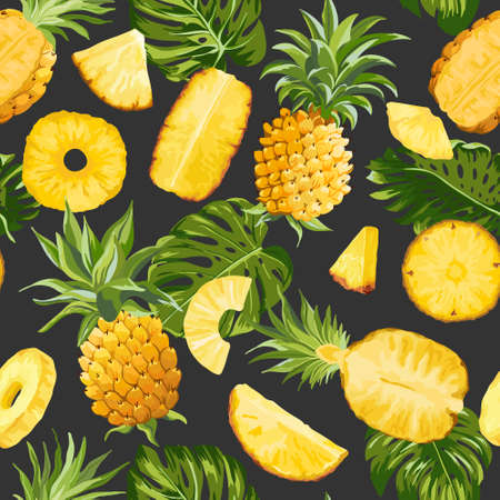 Tropical Pineapple Palm Leaves Background, Exotic Fruit Seamless Texture, Tropic Jungle Pattern