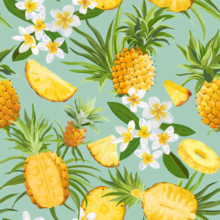 Pineapple and Tropical Flowers Seamless Pattern, Fashion Exotic Background, Plumeria Fruits Texture