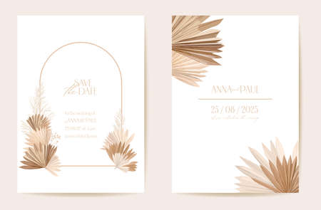 Wedding invitation dried tropical palm leaves, flowers card, dry pampas grass watercolor template