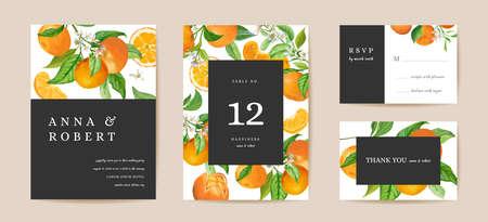 Botanical wedding invitation card, vintage Save the Date mandarin, citrus template design watercolor illustration Иллюстрация