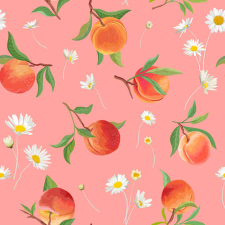 Peach pattern with daisy, tropic fruits, leaves, flowers background. seamless texture illustration in watercolor style