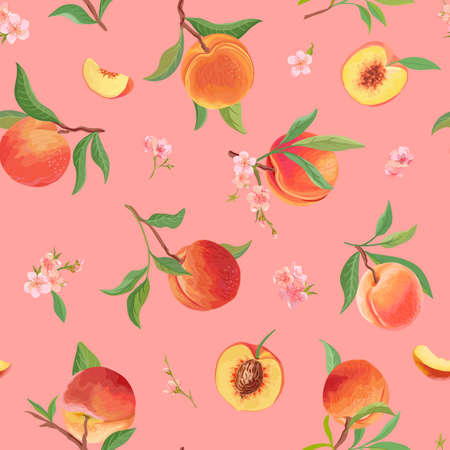 Watercolor peach texture, tropic fruits, leaves, flowers pattern. seamless background illustration