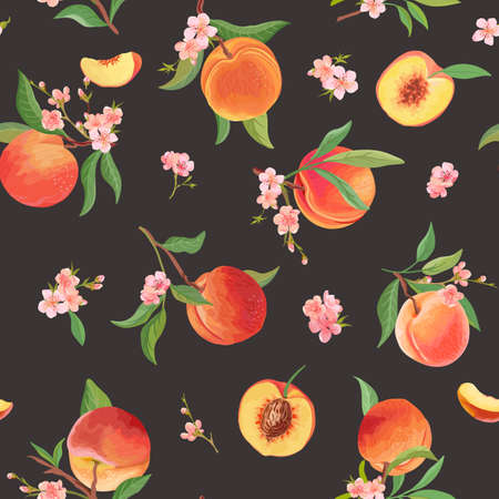 Watercolor peach seamless pattern, tropic fruits, leaves, flowers texture. background illustration