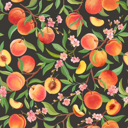 Peach pattern with tropic fruits, leaves, flowers background. seamless texture illustration in watercolor style