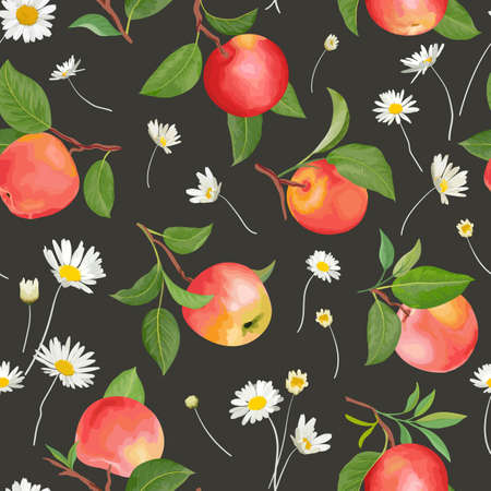 Apple pattern with daisy, autumn fruits, leaves, flowers background. Vector seamless texture