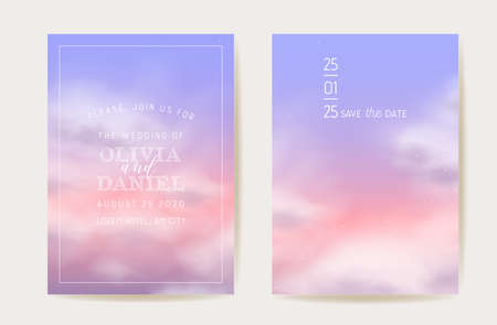 Pink cotton clouds wedding invitation. Vector design magic pastel background. Luxury pastel save the date