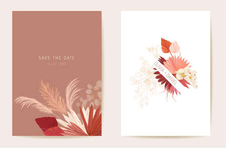 Watercolor orchid, pampas grass, lunaria floral wedding card. Vector exotic flower, tropical palm leaves invitation