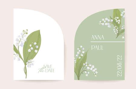 Modern minimal Art Deco wedding vector Invitation set. Boho lily flower card template. Spring pastel flowers poster
